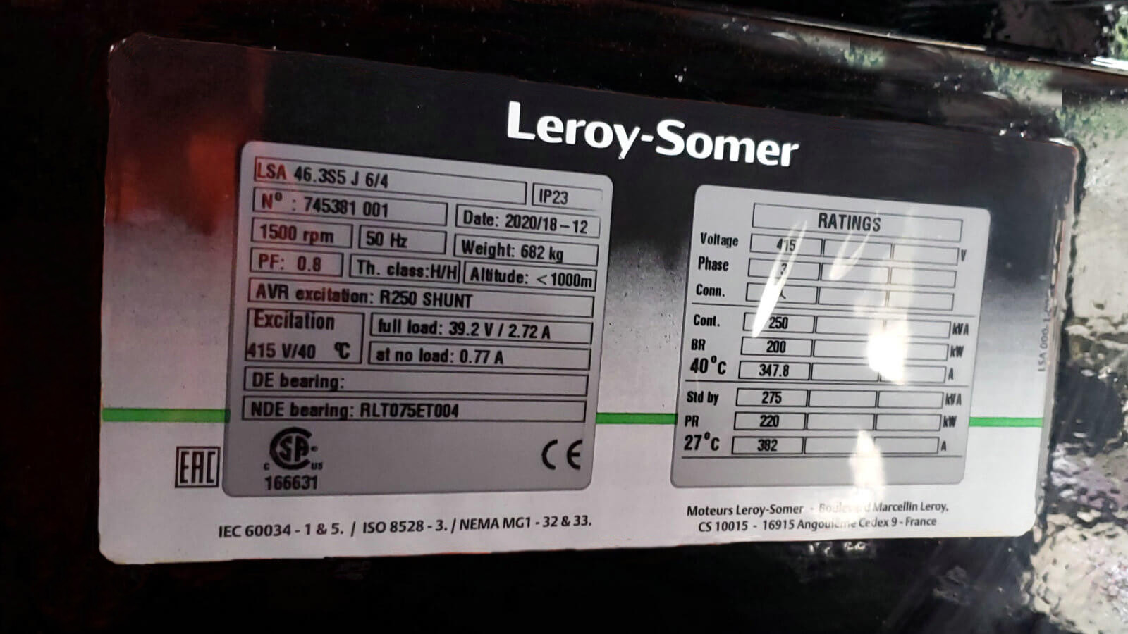Leroy Somer Alternator for 500kW Cummins Biogas Generator ETTES POWER